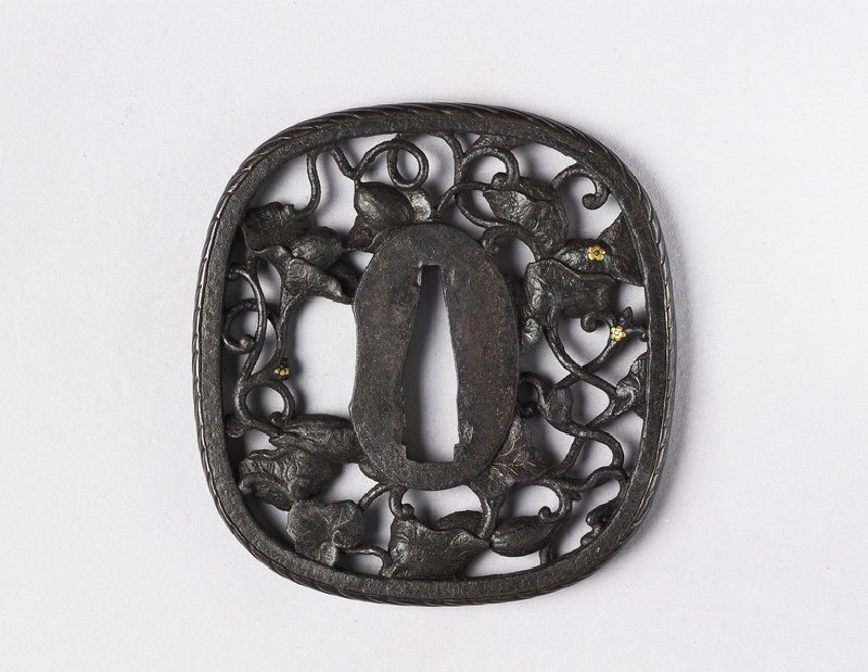 Round tsuba with design of tendrils and flowers (EA1978.355, front            )