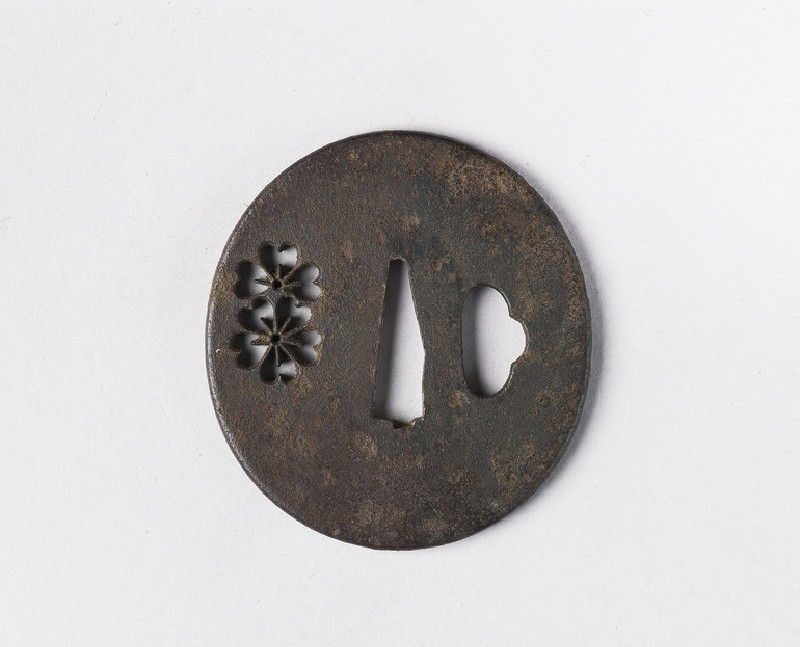 Round tsuba with design of cherry blossoms (EA1978.387, front            )