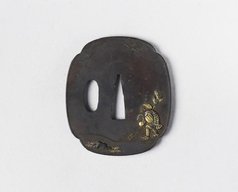 Mokkō-shaped tsuba with design of a broom vendor