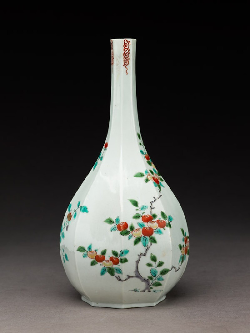 Octagonal bottle with tree peony and persimmon tree (side            )