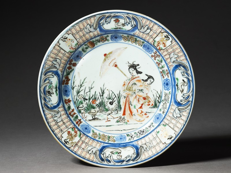 Plate with 'Parasol Lady' design (EA1978.489, top            )