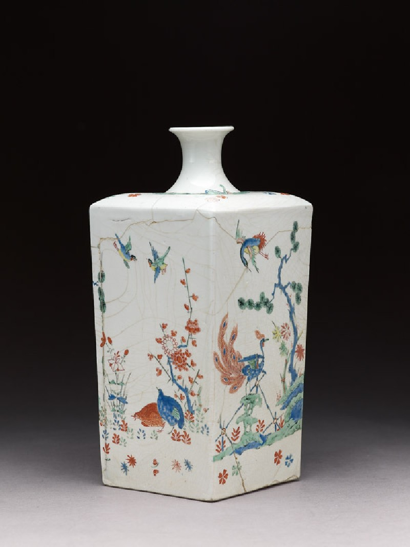 Square bottle with Dutch decoration of tiger and birds (EA1978.508, side            )