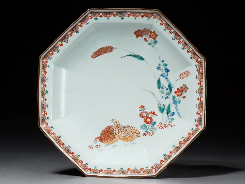 Octagonal dish with quails and flowers (EA1978.569, top            )