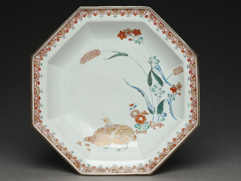 Octagonal dish with quails and millet (top            )