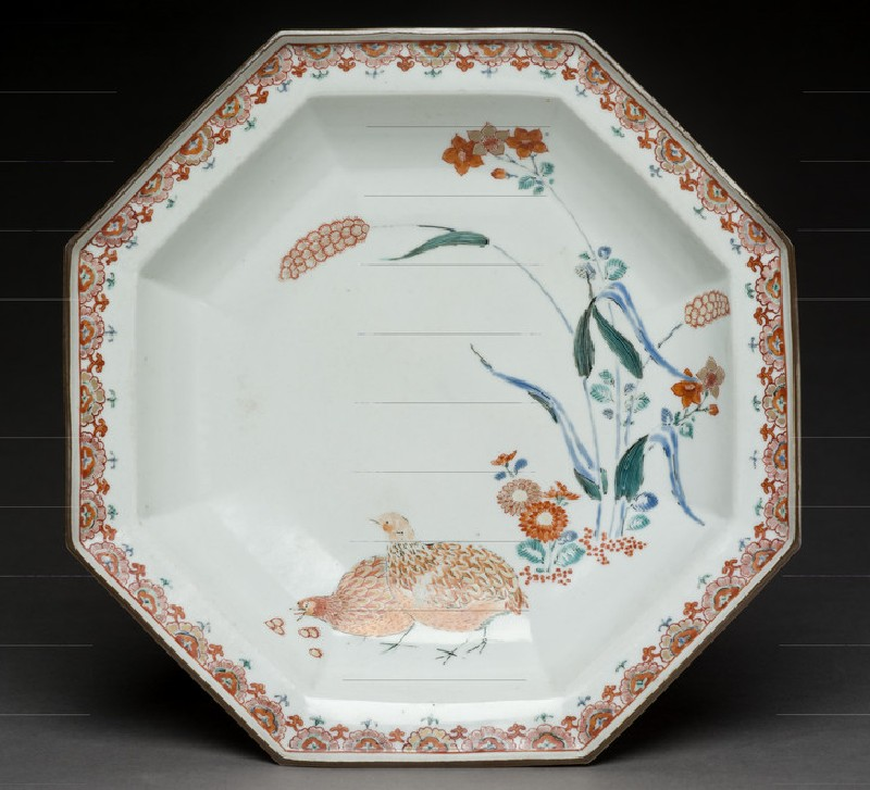 Octagonal dish with quails and millet (EA1978.574)
