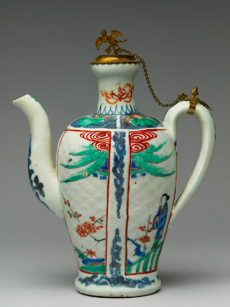 Ewer with a woman and prunus plants (side            )