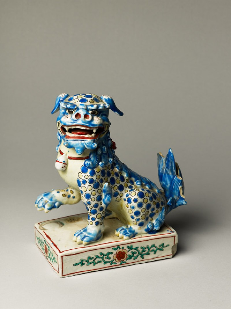 Figure of a shishi, or lion dog (oblique              )