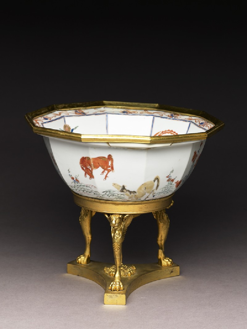 Bowl with horses and English Empire-style mounts (EA1978.664.a, oblique, before conservation              )