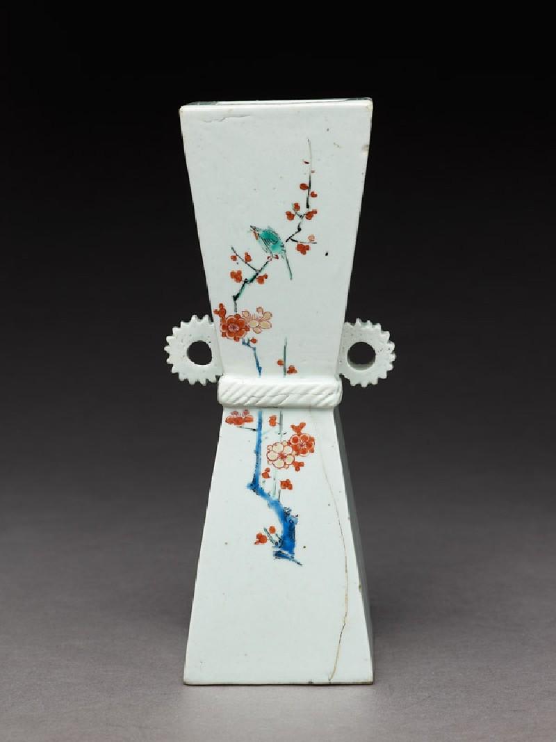 Wall vase with prunus sprays and birds