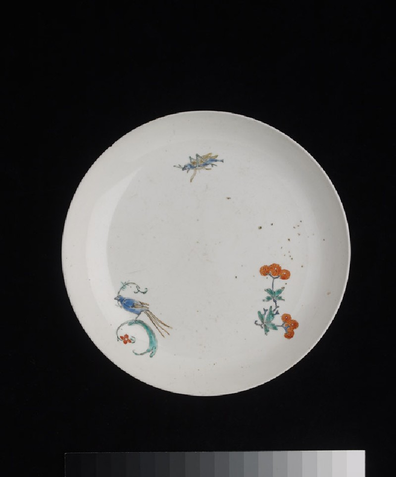 Plate with bird, cricket, and poppy spray