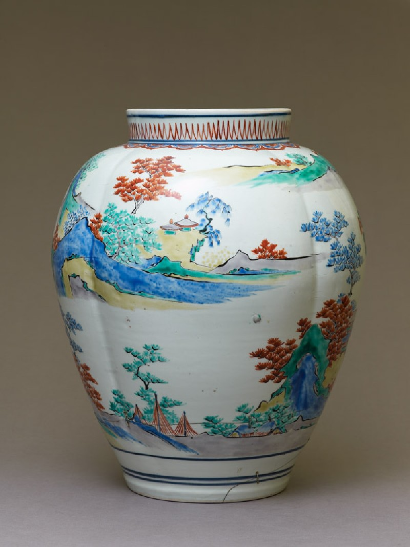 Lobed baluster jar with pavilions and temples in a landscape