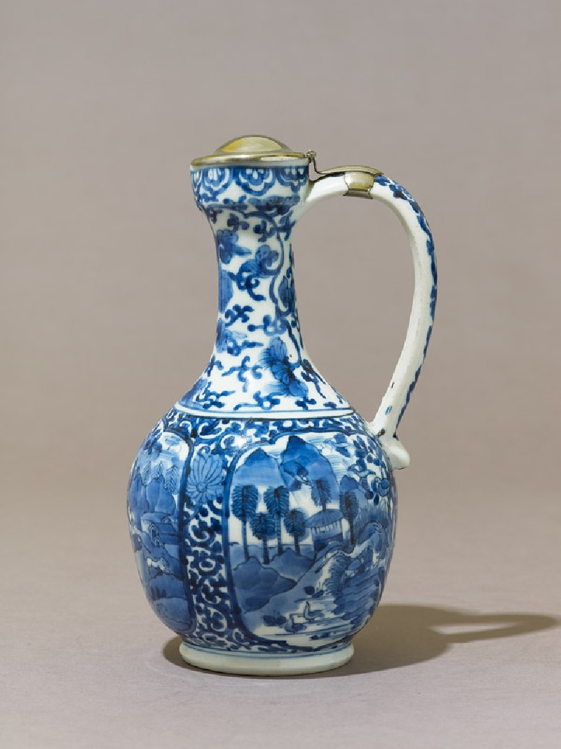 Jug with three cartouches depicting landscapes