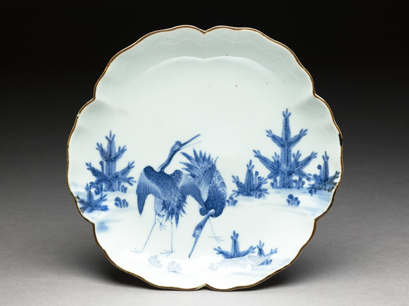 Petalled saucer with cranes (EA1978.713, top            )