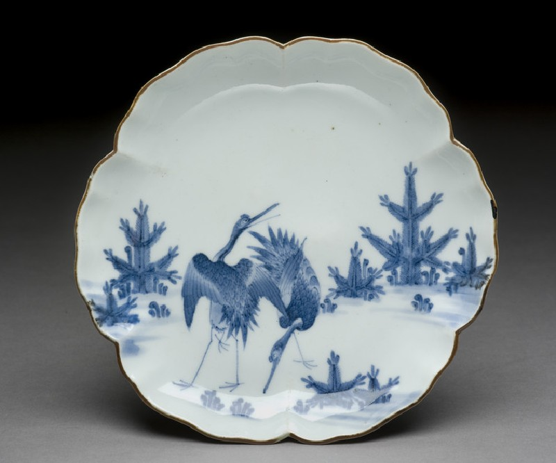 Petalled saucer with cranes (EA1978.713)