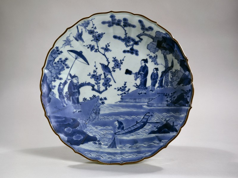 Foliated dish with figures in a landscape (EA1978.716, top            )