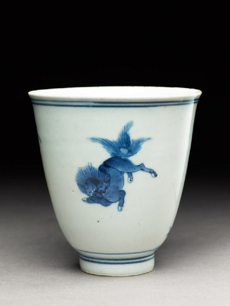 Cup with a shishi, or lion dog (oblique            )