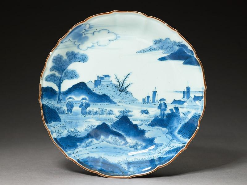 Plate with 'Deshima Island' theme (top            )