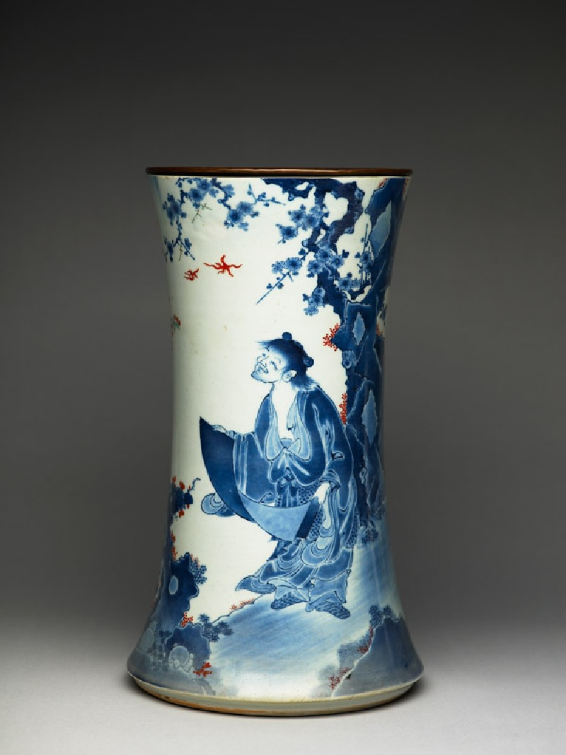 Trumpet vase depicting the sage Kanzan by a lake