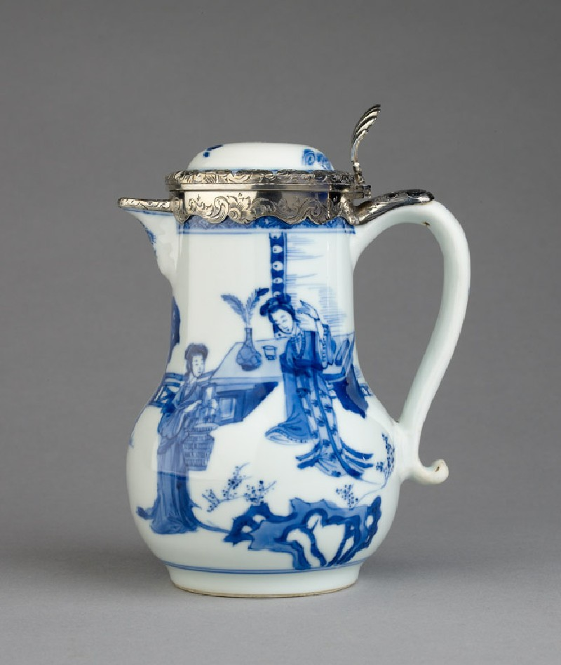 Blue-and-white jug with garden landscape and Dutch silver mount (side            )