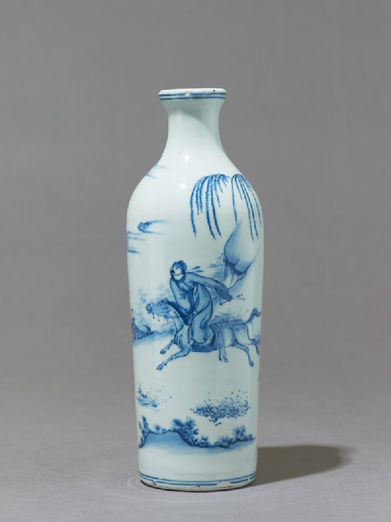 Blue-and-white vase with a galloping horseman