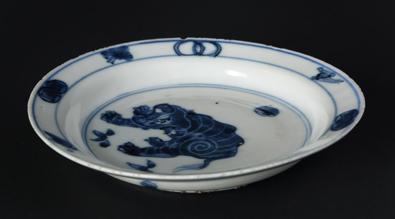 Blue-and-white dish with elephant