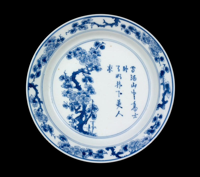 Blue-and-white dish with prunus tree and poem