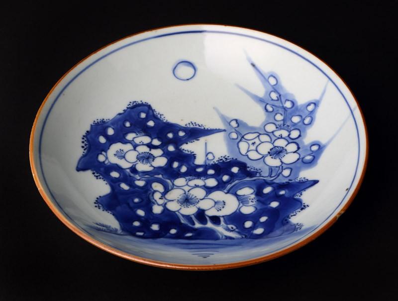 Blue-and-white dish with prunus spray