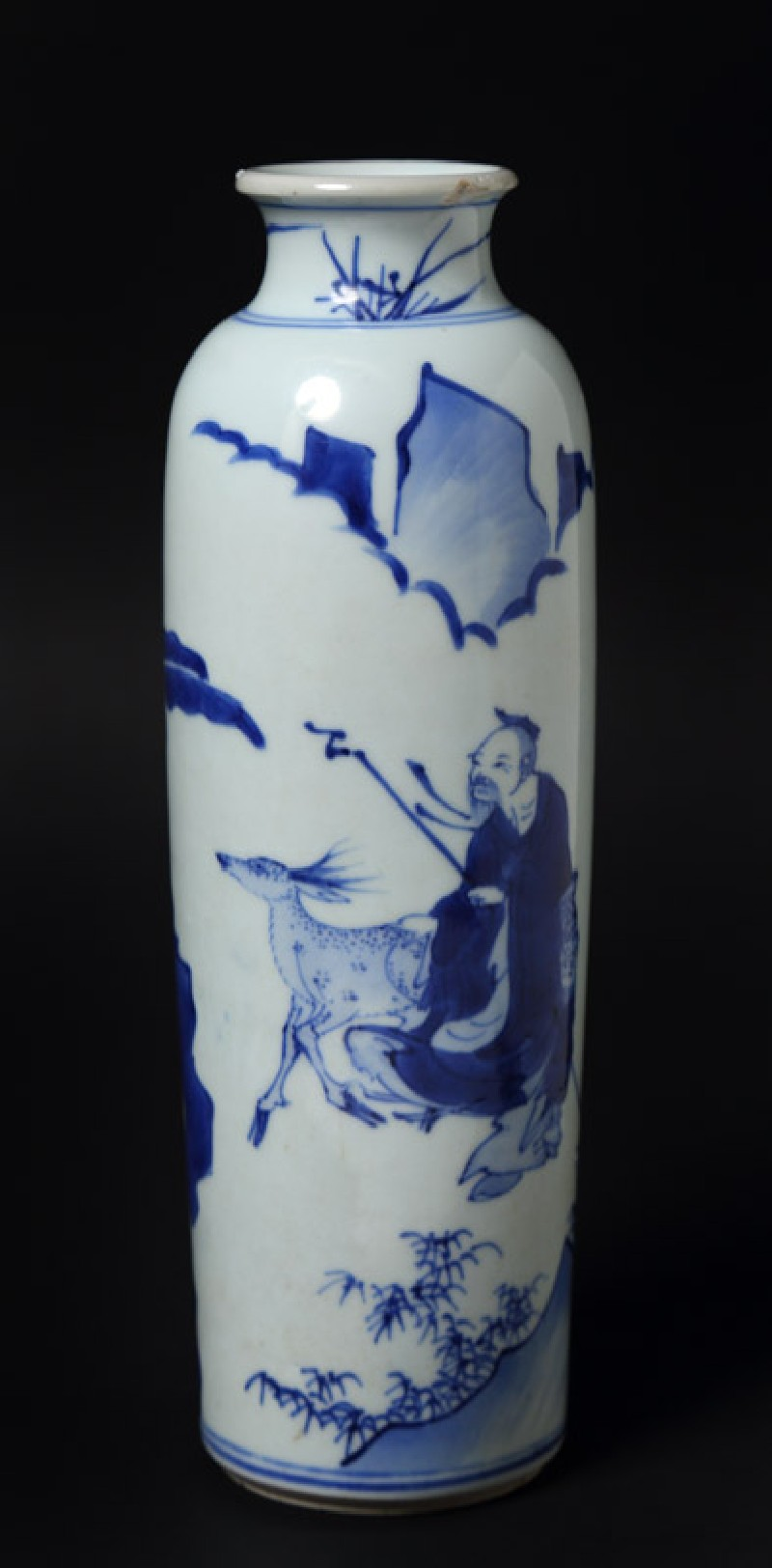 Blue-and-white vase with figures and deer in a landscape (EA1978.868, front            )