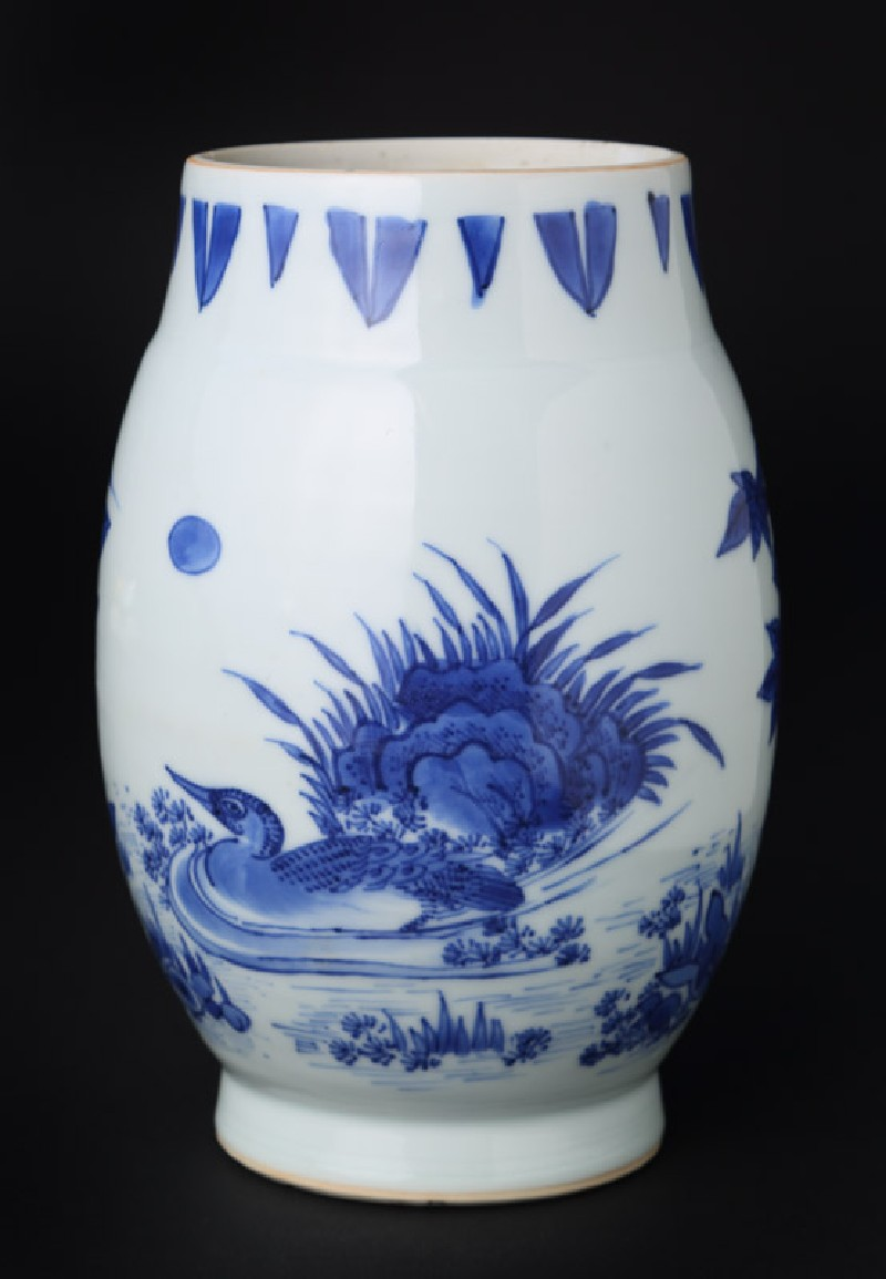 Blue-and-white jar with duck and heron (front            )