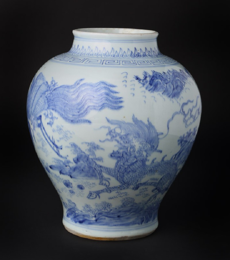 Blue-and-white jar with kylin, or horned creature, and phoenix (front            )