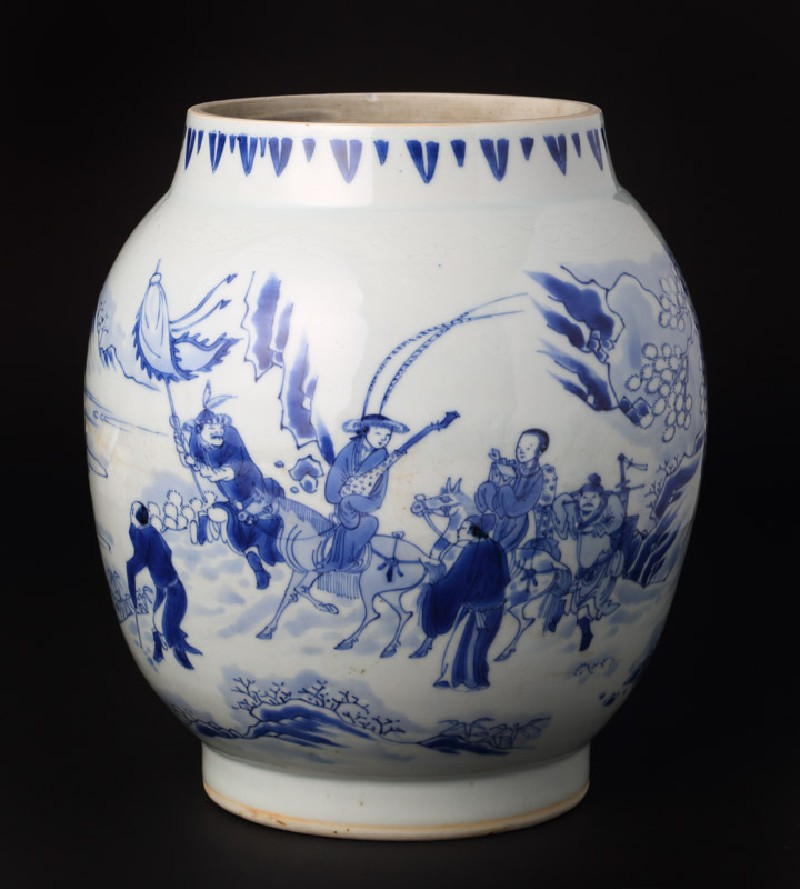 Blue-and-white jar with figures in a snowy landscape