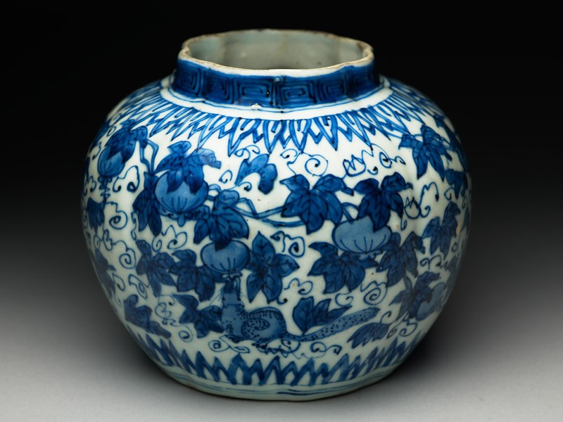 Blue-and-white jar with animals eating fruit (EA1978.952, oblique            )