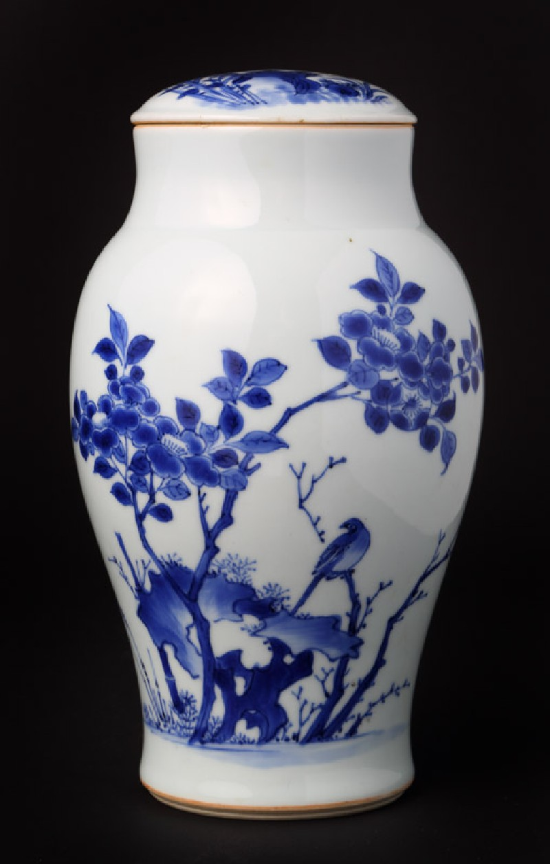 Blue-and-white jar and lid with birds, rocks, and plants (EA1978.964.b, front              )