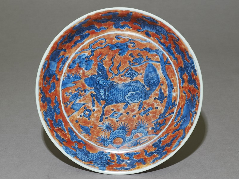 Dish with a kylin, or horned creature (EA1978.980, top            )