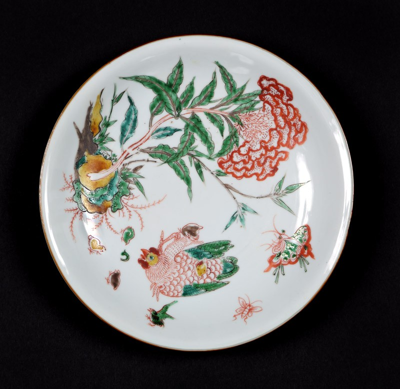 Dish with plant, hen, and six chicks (EA1978.1052, front             )