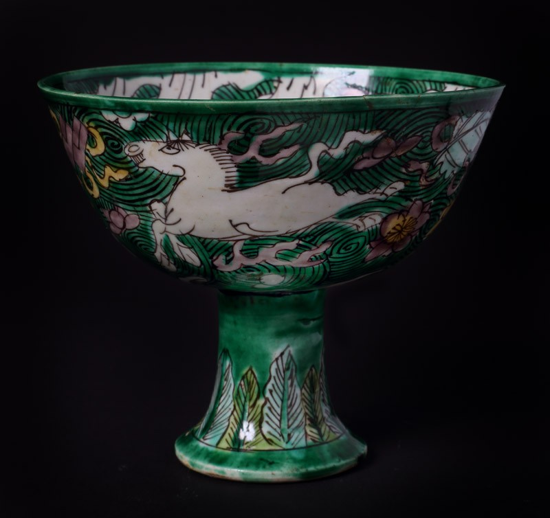 Stem cup with horses amid waves (EA1978.1114, front             )