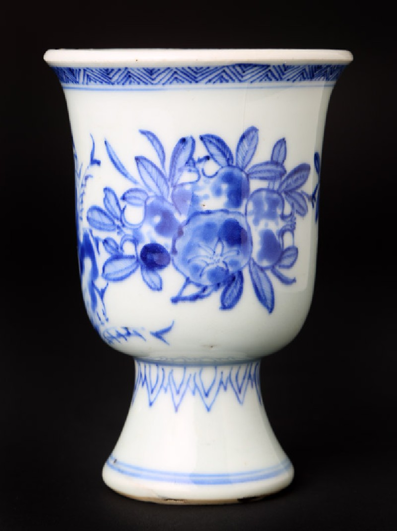 Blue-and-white stem cup with pomegranates and bamboo (EA1978.1171, front             )