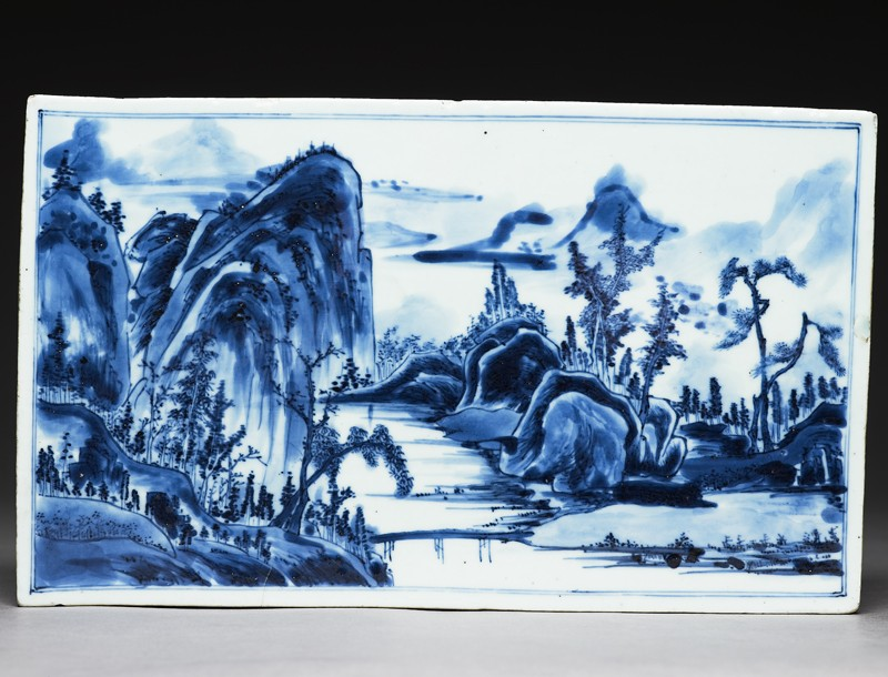 Blue-and-white tile with a landscape on one side and flowers on the other (EA1978.1174, front             )