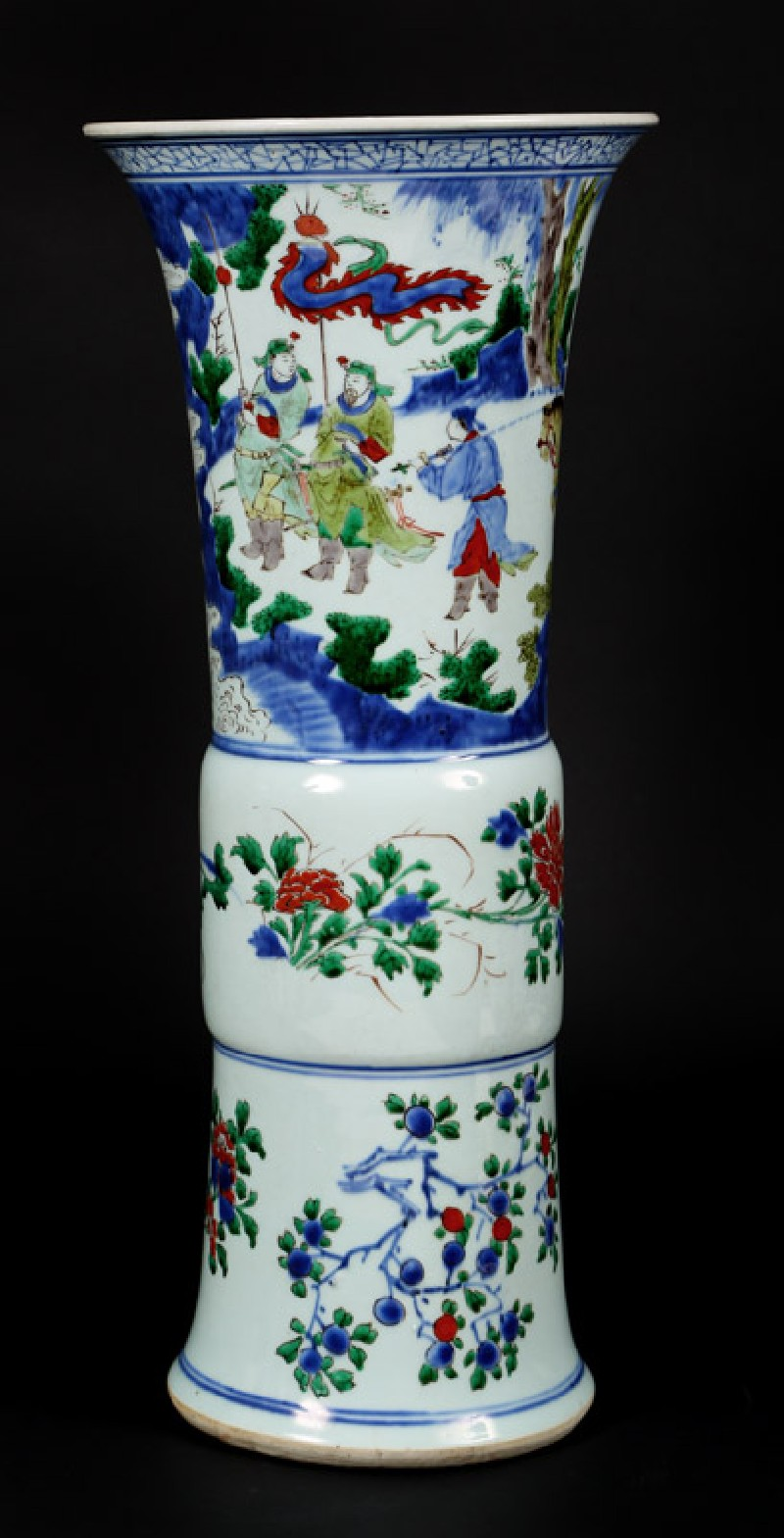 Beaker vase with mounted warrior and attendants