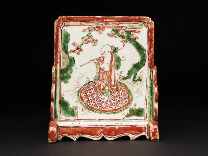 Brush stand depicting a man under a tree (EA1978.1229, side             )