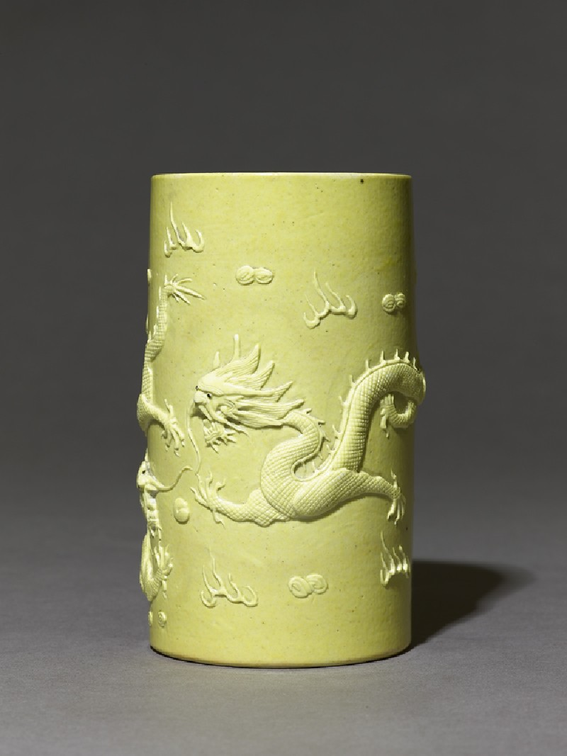 Brush pot with dragons in high relief