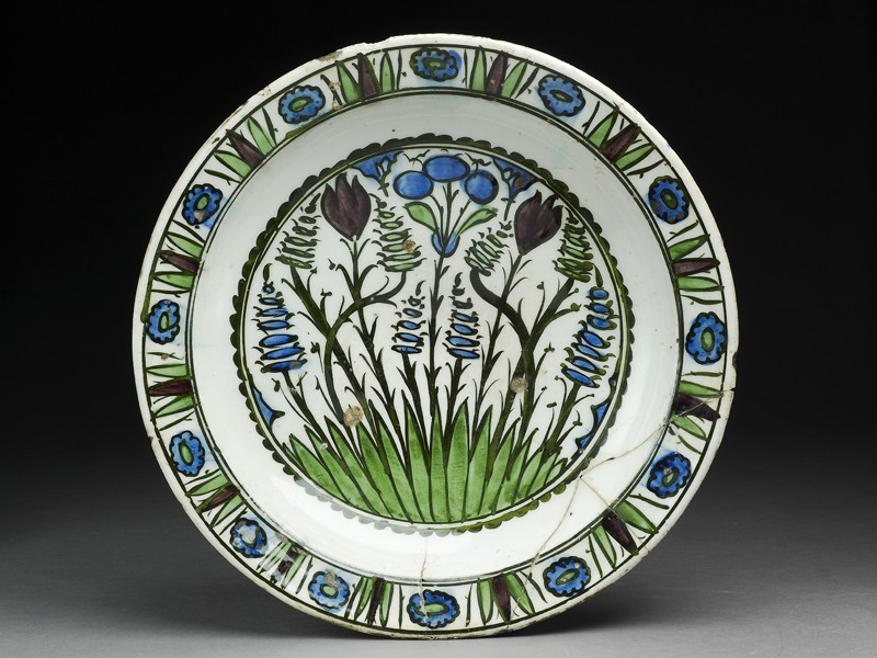 Dish with tulips and hyacinths