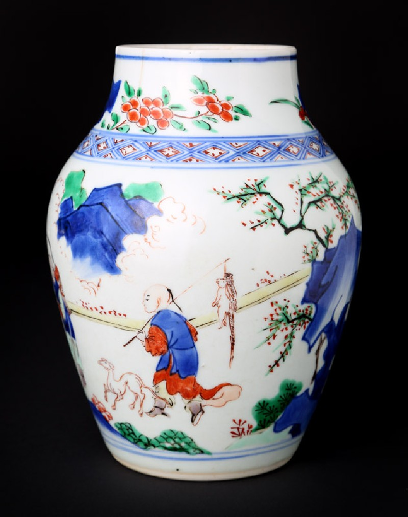 Jar with figure and a horse in a landscape