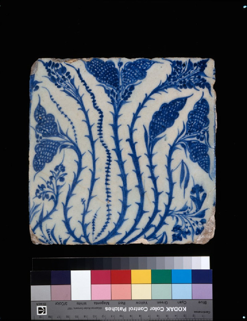 Square tile with leaves (EA1978.1510, front             )
