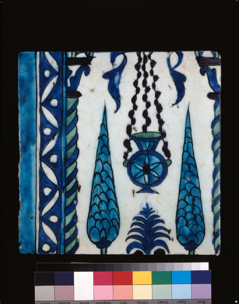 Square border tile with lamp and cypresses (front             )