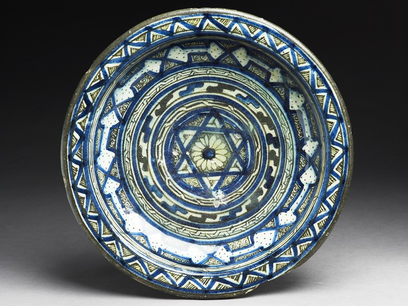 Dish with central six-pointed star and concentric bands of geometric decoration (top             )