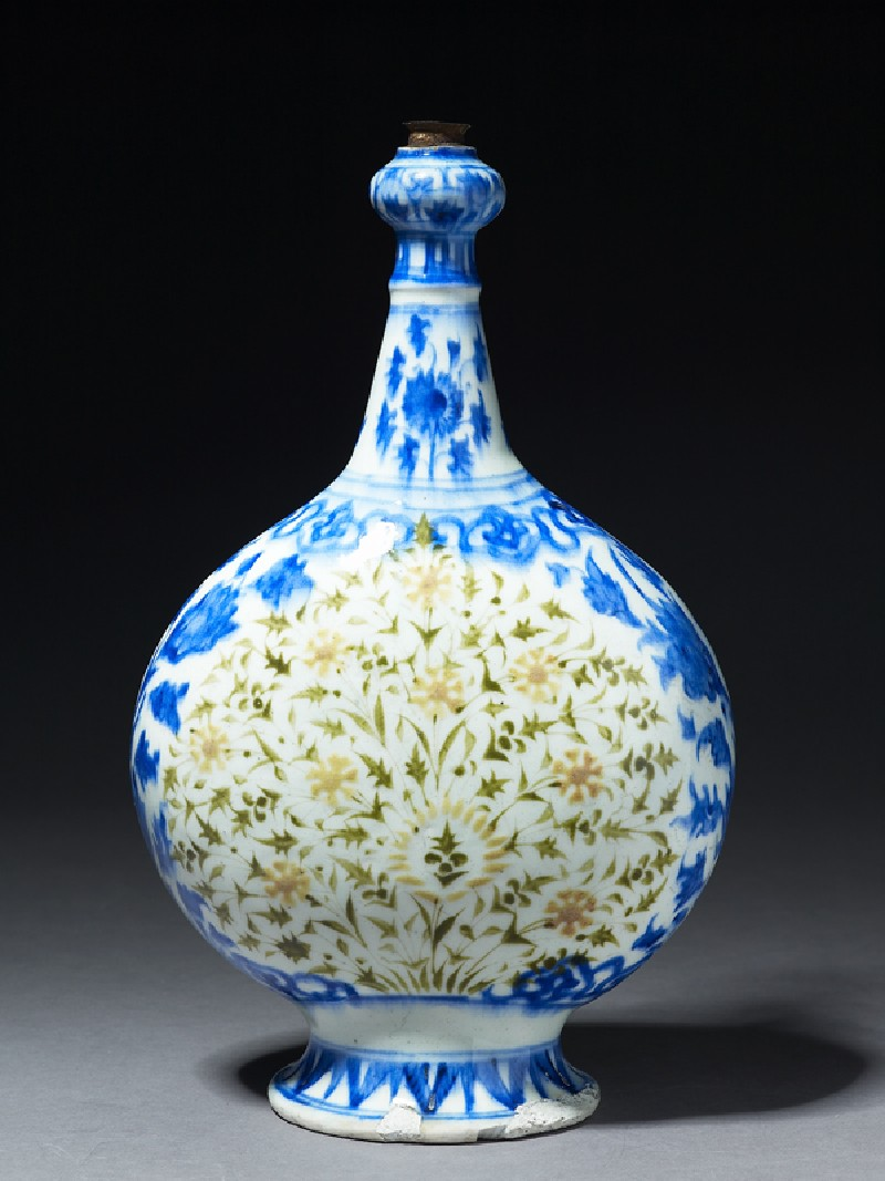 Bottle with polychrome floral decoration