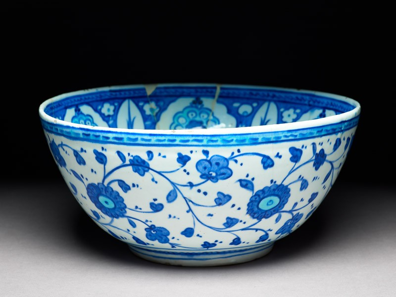 Bowl with six-pointed star, cypress trees, and prunus blossom (oblique             )