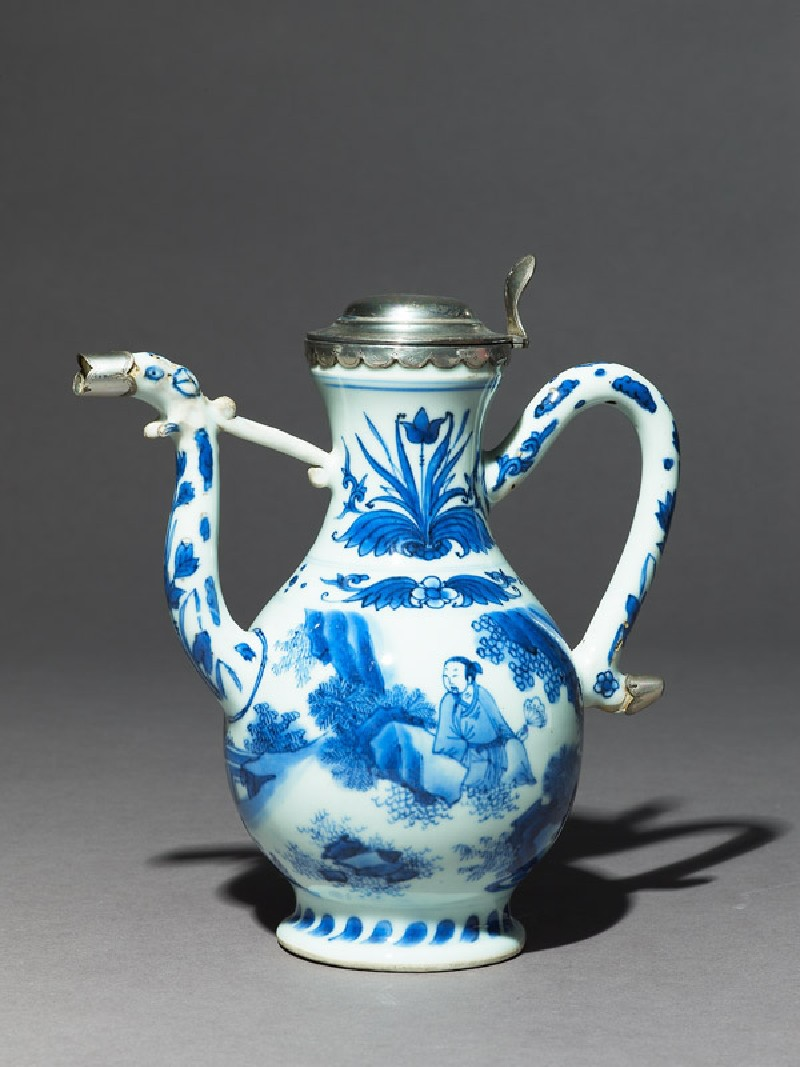 Blue-and-white ewer with European silver mounts (EA1978.1938, side             )