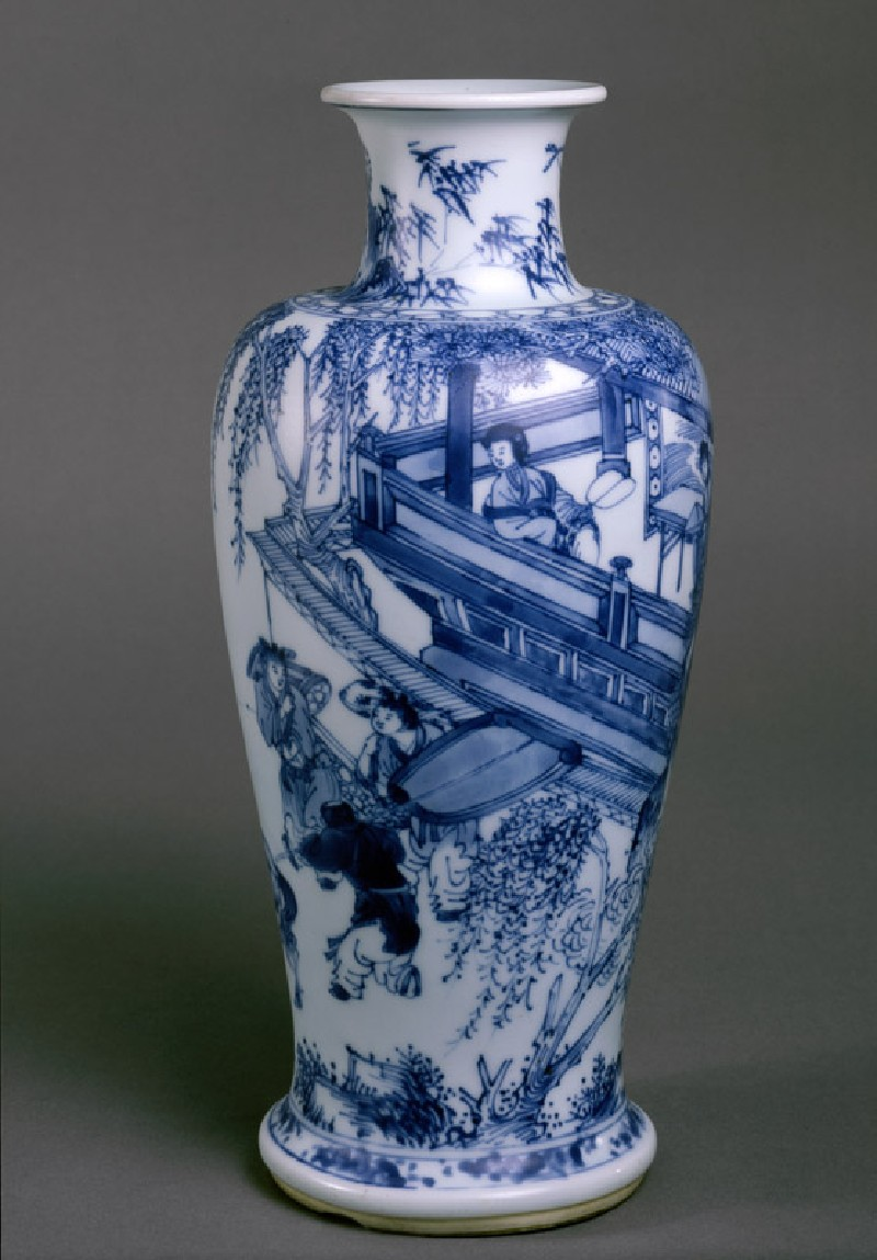 Blue-and-white vase with figures on a balcony (side             )